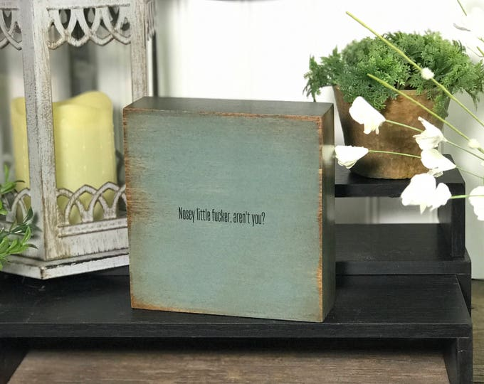 SHIPS FREE! Nosey fucker funny decor | Our Chunky fun freestanding quote block signs make great affordable gifts they'll love for any occasi
