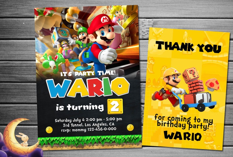 Super Mario Invitation Super Mario Bros Invitation Super Etsy
