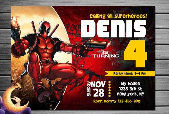 Invitaci 243 N Del Cumplea 241 Os De Deadpool Etsy