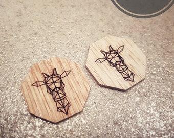 Wood - Giraffe earrings
