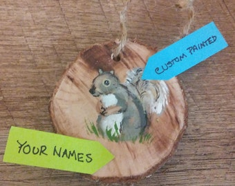 10 Custom Painted Woodland Wedding Favors, Squirrel, Mix and Match
