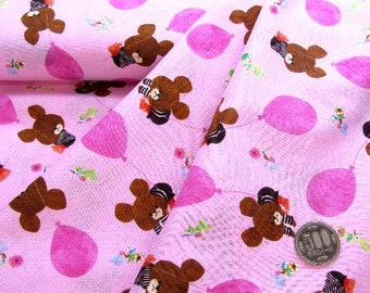 "The bear's school TINY TWIN BEARS Pink Japanese fabric 100% sheeting / Half yard  110 cm x 50 cm (about 43.30 ""x 19.50"") kawaii from Japan"