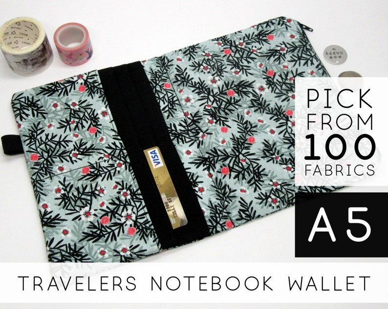 Zippered Wallet Insert for Travellers Journal Midori  A5 image 0
