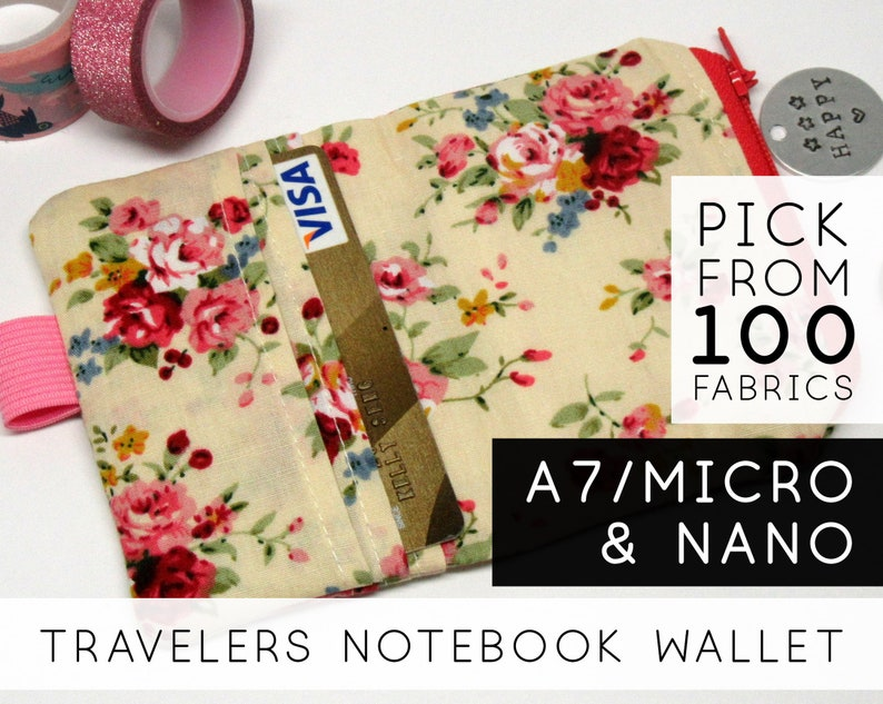 Small Notebook Wallet  Nano Mini Micro A7  Roses On Beige image 0