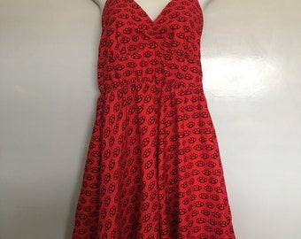 Vintage Dress Brass Knuckles Print Medium Size