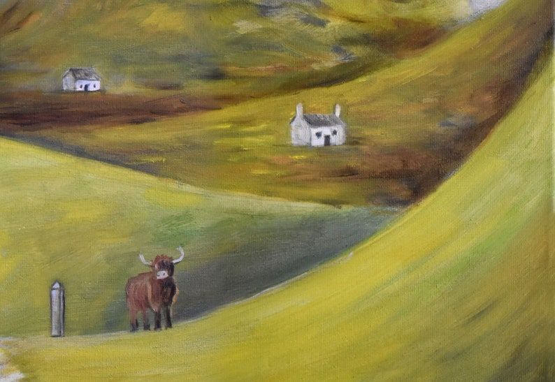 Scottish Highlands Print from oil painting || original art || boho surreal art giclee fine art wall decor poster