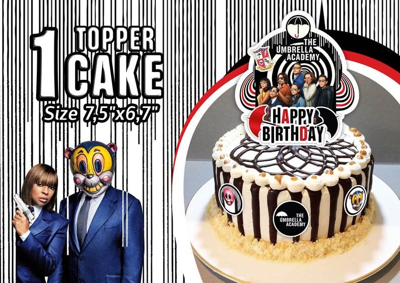 Ben Imprimible Cake Topper Umbrella Klaus Luther Happy Birthday Cake Topper The Academy Umbrella Number 5 Vanya Allison Diego