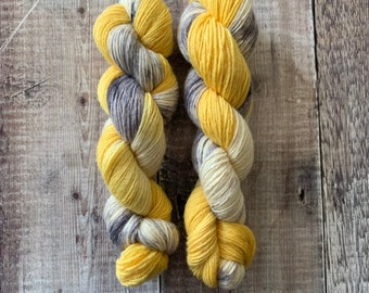 DK Weight Hand Dyed Yarn 100% BFL (Bluefaced Leicester) 100g Skein -As Happy As A Seagull With A Chip- knitting, crochet, weaving, fibre art