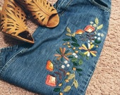 Vintage Denim Hand Embroidered 70 39 s Skirt