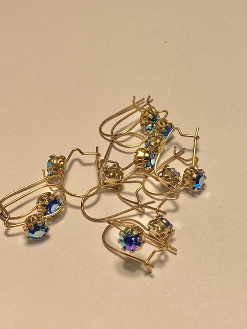 15 Pairs Gold Plated Rhinestone ear wires Sapphire AB Glass Stones