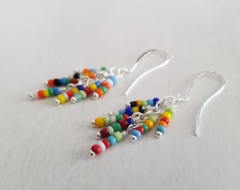 Multicolored beads, wire wrapped, silver plated cluster earrings.