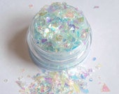 Zero - Iridescent Blue - Halloween Cosmetic Mix Face and Body Glitter For Festival Rave and Cosplay Makeup - Nails Slime and Craft Supplies