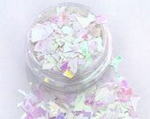 Cupcake Frosting - Chunky White and Pink Opalescent Mylar Flake Cosmetic Body Glitter For Makeup Nails Christmas Crafts Resin and Tumblers