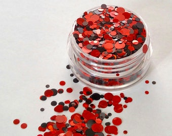 Lil' Devil - Holographic Red and Black Cosmetic Body Glitter For Festivals, Raves, Creative Makeup Looks, Slime And Crafts.