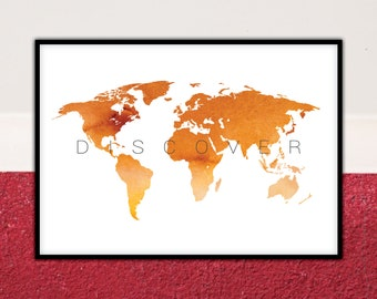 Watercolor world map etsy watercolor world map world map print world map poster world map wall art world map art world map watercolor map of the world gumiabroncs Images