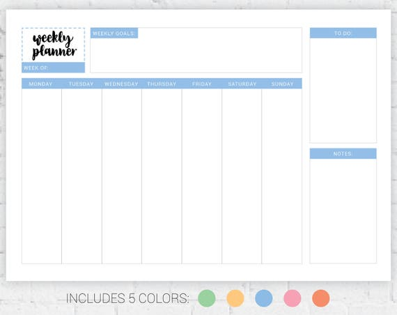 Weekly Checklist | Weekly Planner Weekly To Do List Weekly Checklist Printable Etsy