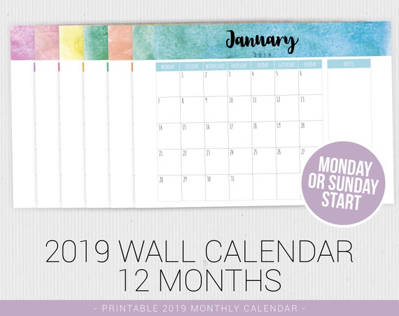 Sunday Monday Start Watercolor Calendar 2019 Calendar Pdf Etsy