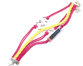 Pink and Yellow Best Friends Rope Bracelets