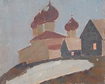 "Ukrainian art.  Artist Shponko G.A.  ""Monastery, Evening"". Church. Monastery. Oil Painting on cardboard. Size 49.5 x 40 cm. (2569)."