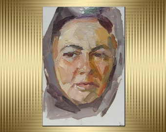 Oil painting. Female portrait. Ukrainian Artist. Original Soviet Ukrainian Art. Impressionism. Vintage work. (3316).