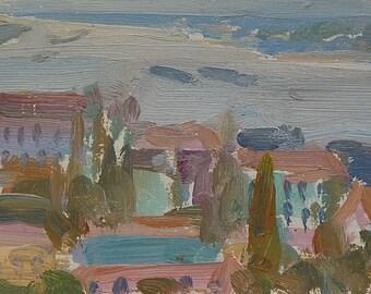Original Oil painting River landscape. View of the Dnieper. Kiev. Vintage Ukrainian Art by Ukrainian artist. Size 13.3 x 28.5 cm. (5435)