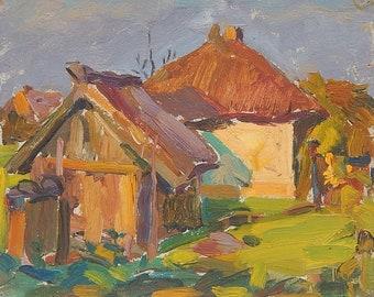Original Oil painting. Rural landscape. Vintage Ukrainian Art by Ukrainian artist. Size 21,5 x 26.5 cm. (5441)