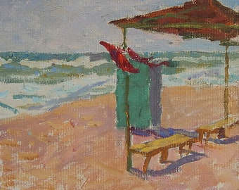 Original Oil painting on canvas. Seascape. Beach. Vintage Ukrainian Art by Ukrainian artist. Size 24 x 26,5 cm. (40)
