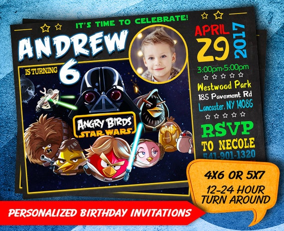 Angry Birds Star Wars Invite Birthday