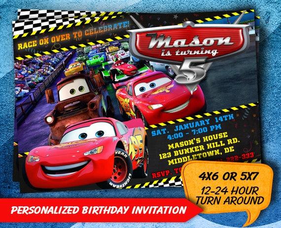Cars Invitation Disney Birthday