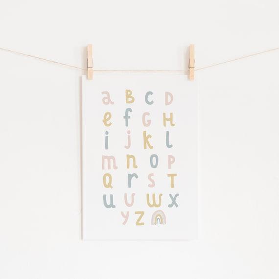 Rainbow Print Nursery | Alphabet Chart Print | ABC Print | Over The Rainbow Print | Nursery Rainbow Art | Nursery Decor | Nursery Print