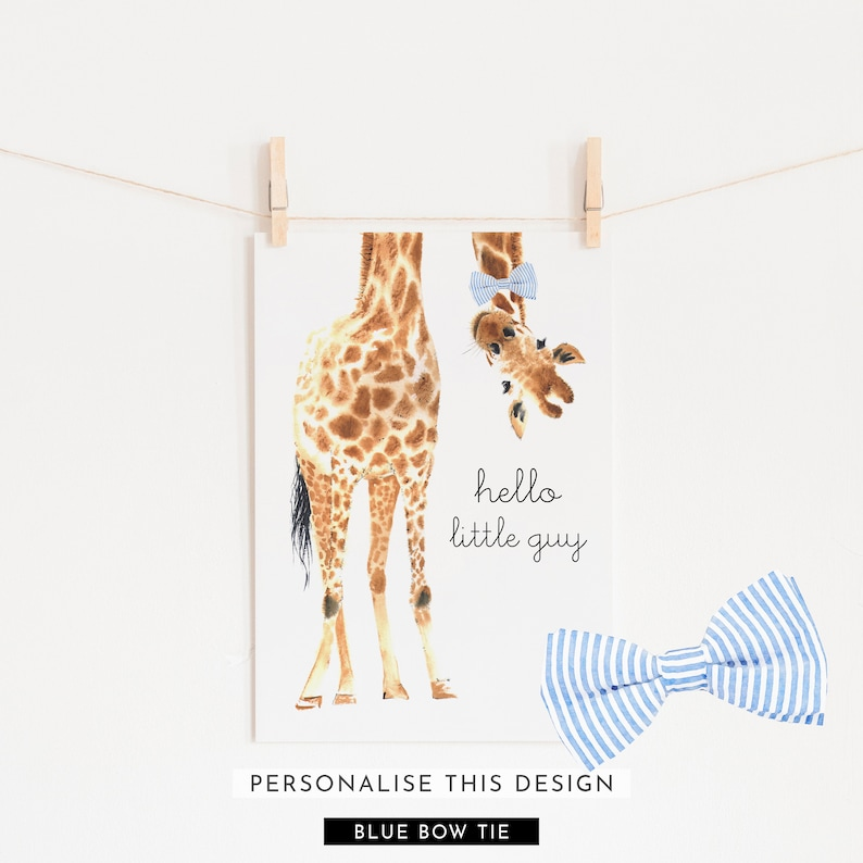 Hello Little Guy Bow Tie Giraffe Print  Giraffe Art  Giraffe image 0