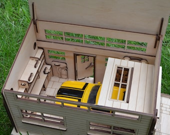 Wooden garage Boy gift Dollhouse with Up and Over Door Garage for cars Parking for cars Toy garage 1/24 Educational game Wooden constructor