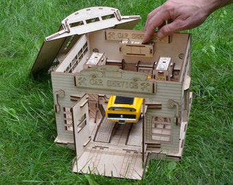 Car Service for cars 1/24 Educational game Gift for a boy Toy town Wooden toys Wooden constructor Wooden toy town