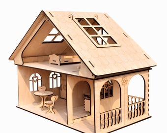 SALE Dollhouse with furniture, Plywood doll house, Dollhouse kit, Natural dollhouse. Wooden dollhouse, Girl doll house, Plywood house