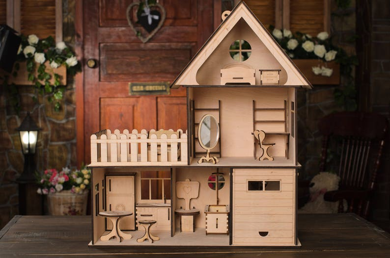 Doll Houses For Sale Large Wooden Dolls House Wooden Dolls Housedollhouse Dolls Natural Dollhouse Gift For A Girl Toys For Birthday