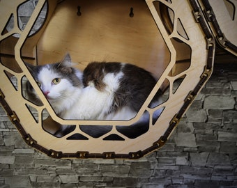 Cat wall furniture. Cat play furniture. Two houses for a cat. Cat's house. Play wall kit for cats. Pet supplies. cat furniture protector