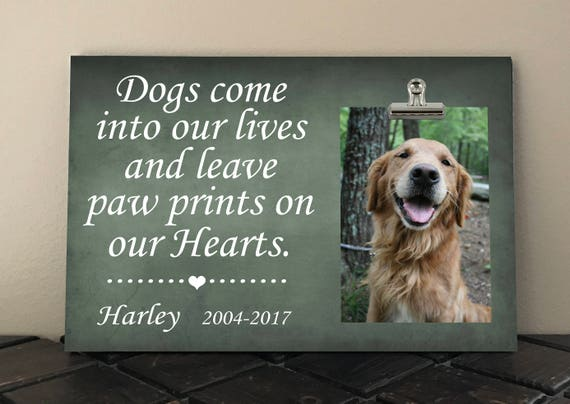 Pet Memorial Frame Dogs Come Into Our Lives And Leave Paw Etsy
