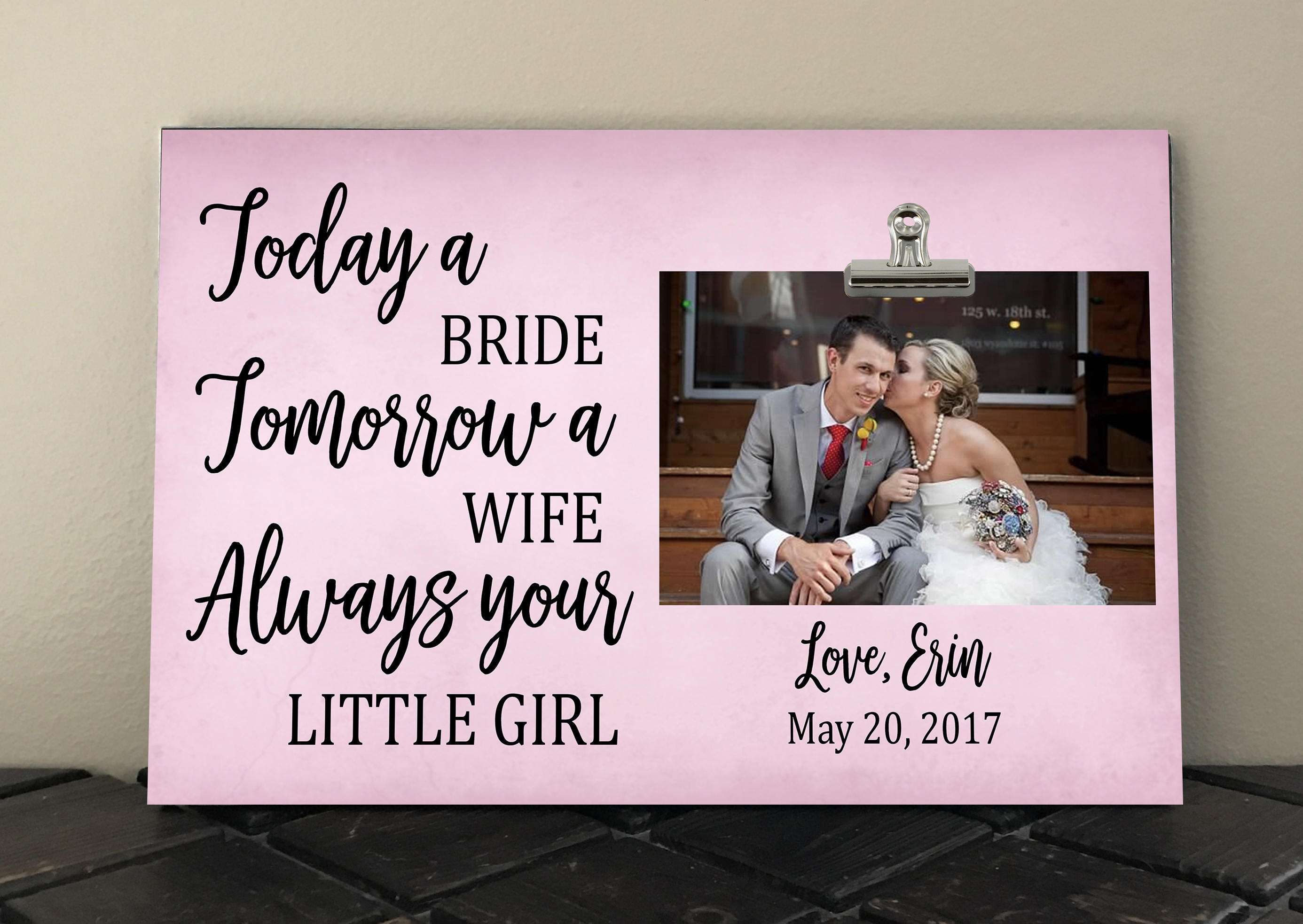 Personalized Free PARENTS of the BRIDE gift Today a bride | Etsy