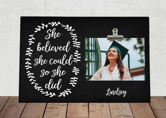 She Believed She Could So She Did Graduation Gift Photo Clip Etsy