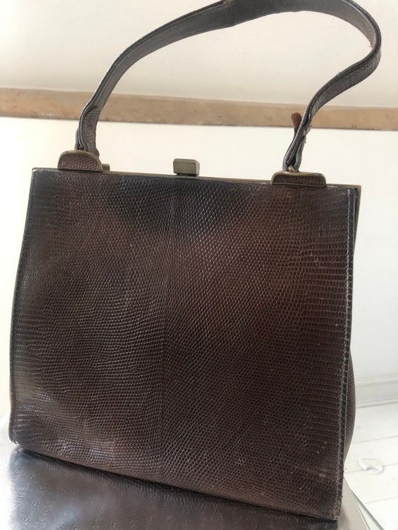 1940's original Jane Shilton Brown Snakeskin Handb