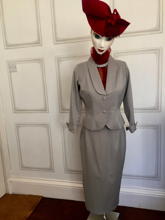 1940's  Vintage Inspired Grey Suit