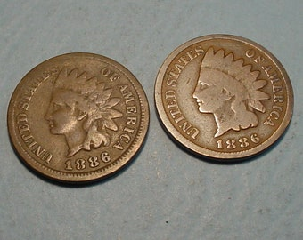 *AG OR BETTER*   **FREE SHIPPING** 1886 P Indian Head Cent Penny TYPE II 2