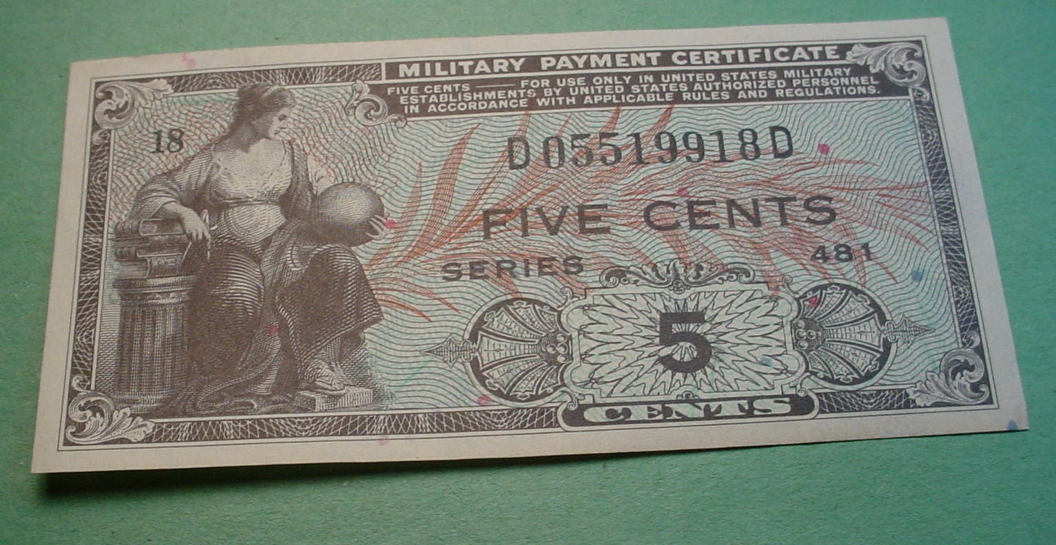 Mpc Note Military Payment Certificate Series 481 For 5 Cents