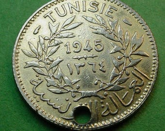 Tunisia 1945 Franc (One of A Kind)   23 mm Not Silver FREE Shipping In United States # ET177