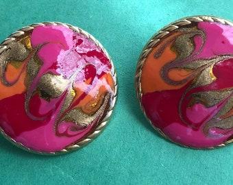 Art Deco Round Multicolor Enamel Post Earrings/32mm/Gold tone/Very Nice<>#BCEB-877