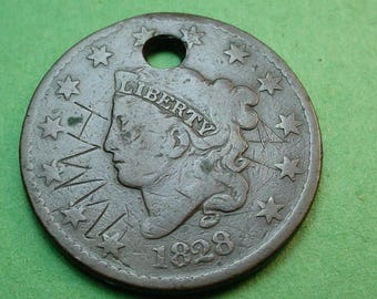 US 1828 Large Cent W/Initials (One of A Kind)   28 mm FREE Shipping In United States # ET169