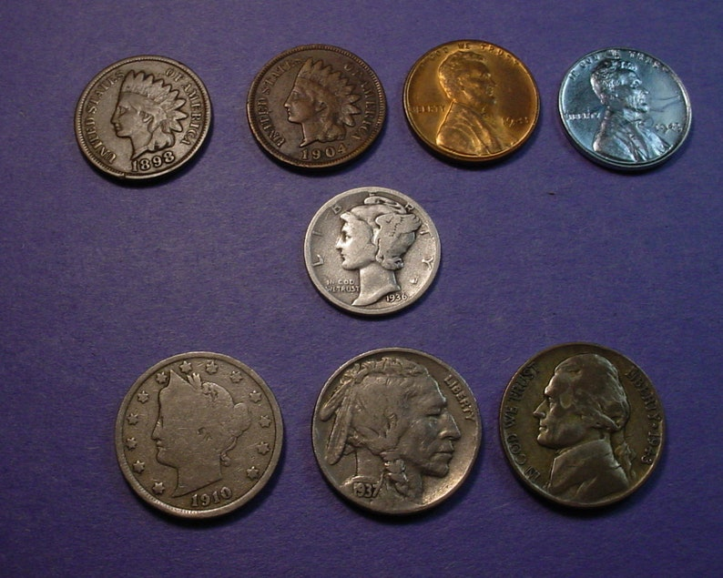 Mercury Silver Dime 1-Indian /&1-Steel Starter Collection Lot of 3 Old US Coins