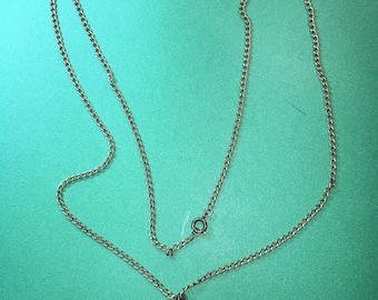 "Unsual Pearl in a Cage Chain link Pendant Necklace /24""/ 1mm Chain-6mm Cage/Gold tone/ In Great Condition<>#BCEB-769"
