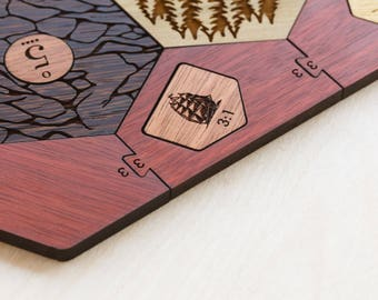 Wood Game Board | Exotic Hardwood | 5-6 Player Extension (Add-on), Laser Cut, Personalized