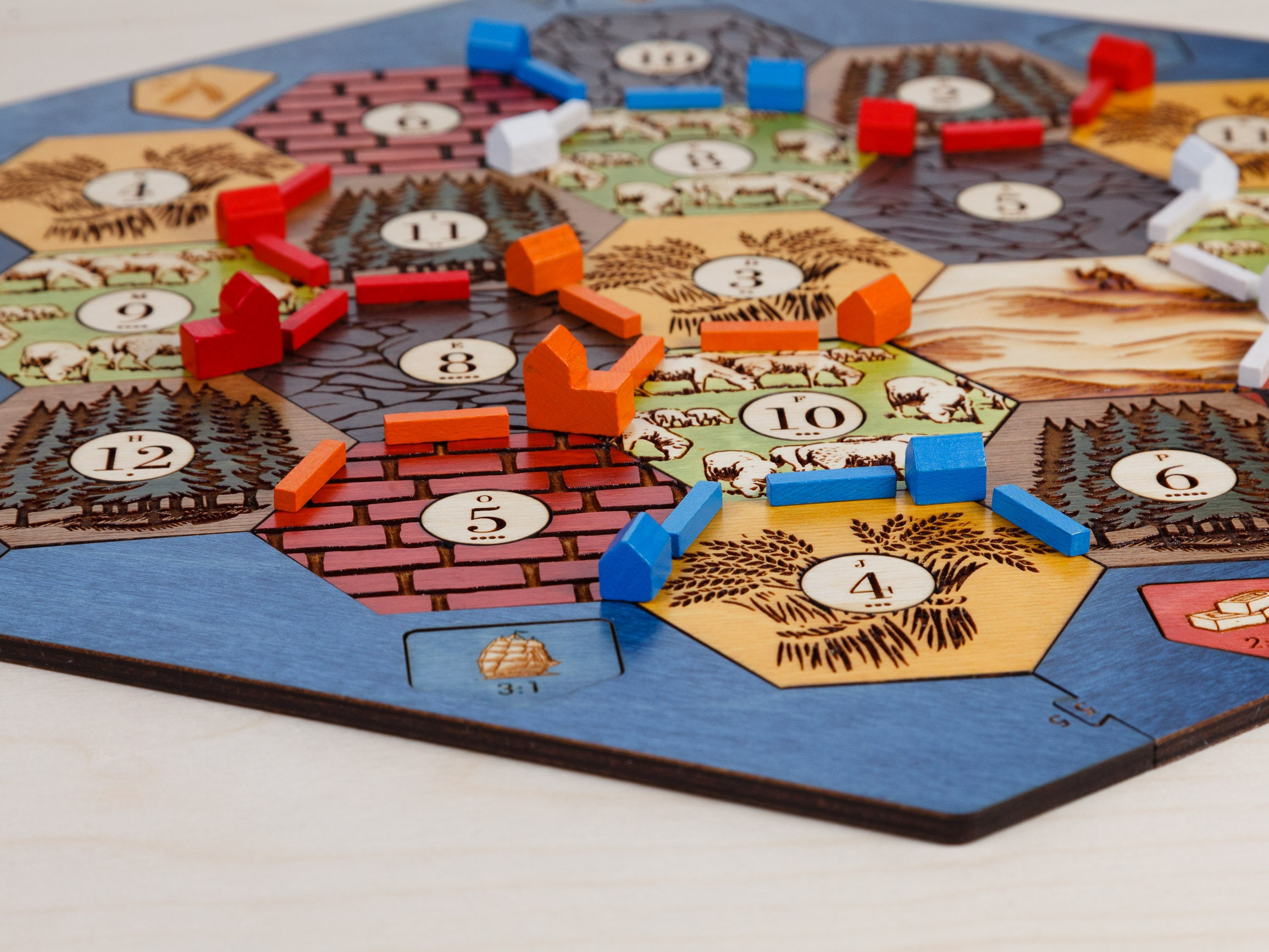 Settlers Of Catan Board Birch 3 4 Player Wood Laser Cut Gift Gift For Him Fathers Day Personalized